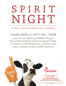 Missions CFA Fundraiser @ Chick Fil A at Southpark Mall | Colonial Heights | Virginia | United States